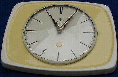 Yellow Junghans Ceramic Clock Kitchen Wall in Nice Condition made in Germany 2