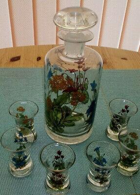 3 Glasflaschen mundgeblasen mit eingeschliffenem Glasstopfen 3,2,6 Trinkgläser 4