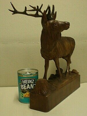 Large Antique Black Forest Stag Swiss Carving Signed 3