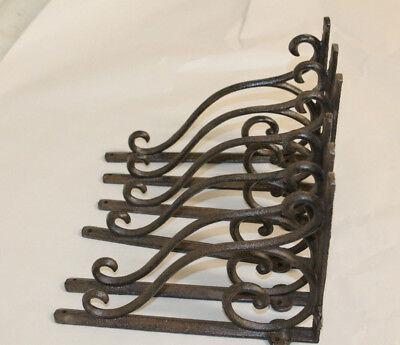 6 Cast Iron Antique Style Brackets Garden Brace Shelf Bracket RUSTIC FARM Scroll 4