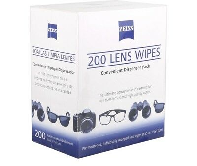 Zeiss Pre-Moistened Lens Cloths Wipes 200 Ct, Glasses Camera Phone Cleaning, New 3