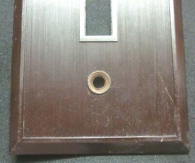 Hemco USA Switch Wall Plate Cover Fine Lines Ribs Brown Bakelite Antique 2