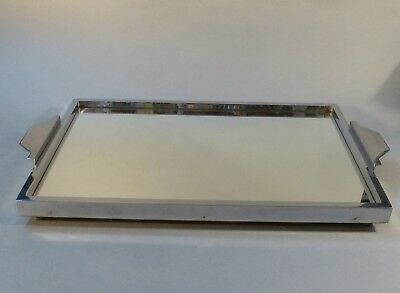 Original Art Deco Servier Tablett Metall Chrom Spiegel groß 46cm x 27cm um 1930 2