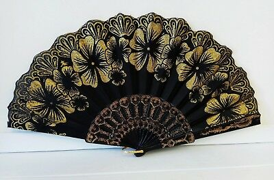 Vintage Folding Spanish Flower Floral Fabric Dancing Wedding Party Hand Fan 5