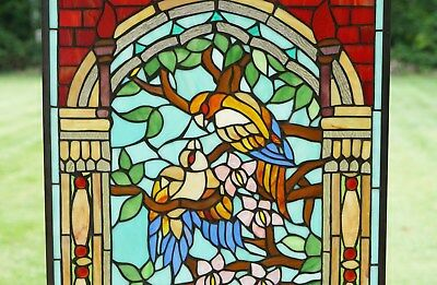 20 75 X 35 Handcrafted Stained Glass Window Panel Love Birds Two Parrots Pottery Glass Wandegar Glass