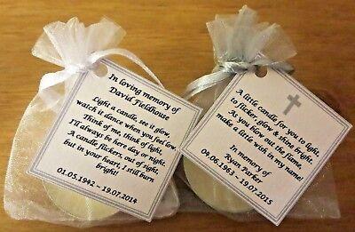 Personalised candle favour memorial funeral keepsake -memory bereavement loss 5