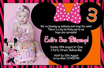 7 Of 12 Personalised Mickey Minnie Mouse Birthday 1st 2nd 3rd Invitations Photo Invites