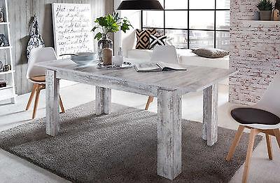 esstisch esszimmer tisch wei pinie shabby holztisch ausziehbar 160 200 cm river eur 196 99. Black Bedroom Furniture Sets. Home Design Ideas