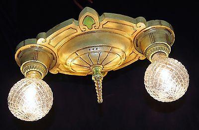 Vtg Art Deco Era Victorian Cast Metal Flush Mount Chandelier Ceiling Fixture 6