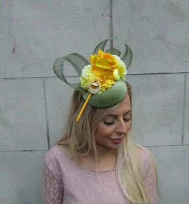 Sage Moss Olive Green Mustard & Yellow Flower Feather Hat Fascinator Races 0087 2