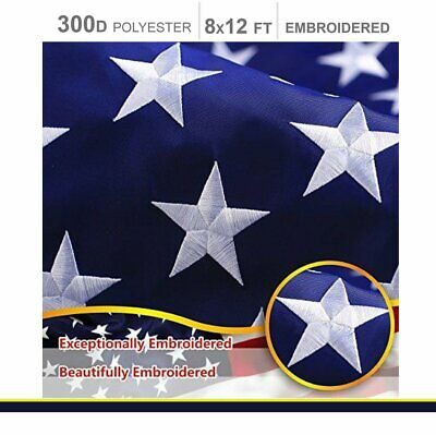 8'x12' ft American Flag US USA | EMBROIDERED Stars, Sewn Stripes, Brass Grommets 2