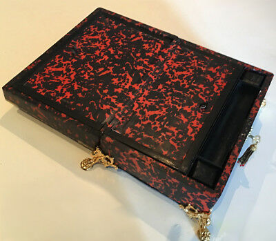Antique French Ormolu Red Tortoise Shell Boulle  Writing Box Slope 7