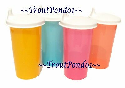 Tupperware 10.5 oz Big Bell Tumblers Set of 4 Sippy Cups White Sipper Seals 3