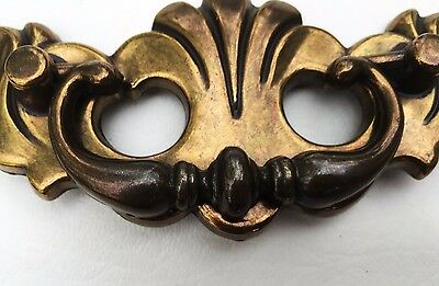 "Antique Hardware Drawer Pull .. Vintage Brass Chippendale Batwing.3"" centers 4"