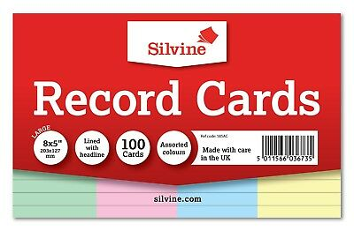 Revision/Flash/Index Silvine Record Cards - White/Ruled/Coloured FREE P&P 7