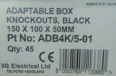 Black Steel Adaptable Metal Electrical Box Knockouts 150x100x50mm Hobby 6x4x2 2