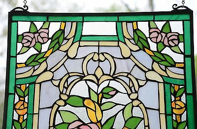 "Rose Flower Tiffany Style stained glass window panel,  20"" x 34"" 3"