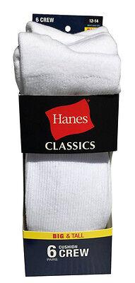 Hanes Men's BIG & TALL 6 paris cushion Crew white socks fit shoe size 12-14 3