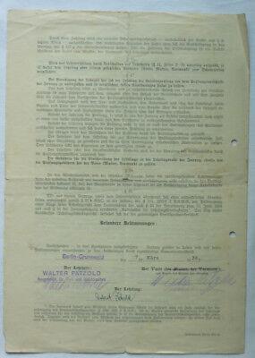 LEHR VERTRAG MAURER HANDWERK 1936 PÄTZOLD CHARLOTTENBURG OBERMEISTER der INNUNG 2