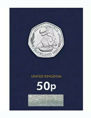 2020 Dinosaur Megalosaurus Fifty Pence 50p Coin Brilliant Uncirculated BUNC UK 2