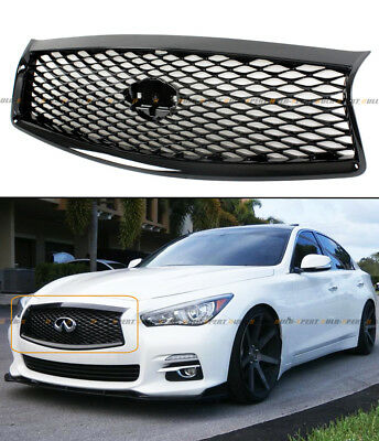 For 2014-17 Infiniti Q50 High Gloss Black Out Front Hood Upper Grill Replacement 2