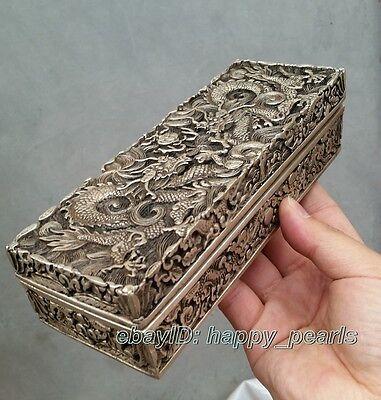 China Qing dynasty Handwork Miao silver dragon statue Bank money jewelry Box 5