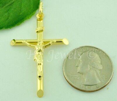 14k solid yellow gold JESUS CHRIST cross pendant INRI #6004 crucifix 2.00 grams