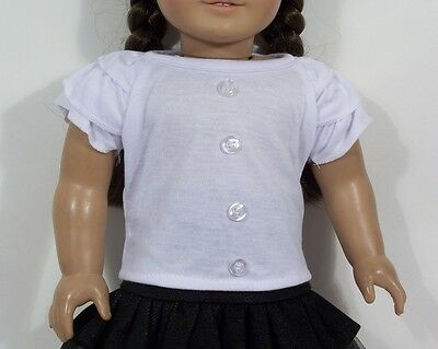 "BLACK Denim Mesh Skirt WHITE Shirt-Top Doll Clothes For 18/"" American Girl Debs"