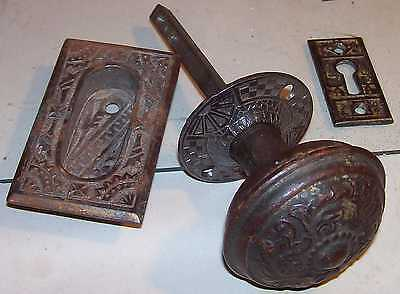 Antique Victorian Door Knob Key Plate Bronzed Cast Iron Fancy Eastlake Hardware 2
