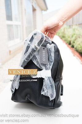 a5a71cb71e BNWT GUESS CARSON Stud Small Backpack Shoulder Bag Black Cognac 3 SALE!