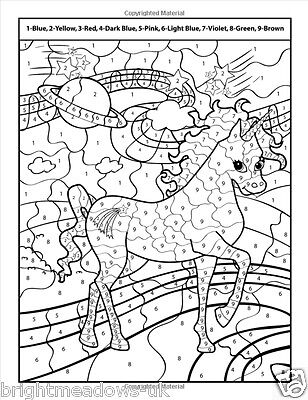 UNICORNS COLOUR BY Numbers Adult Colouring Book Cute ...