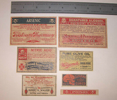 Set of 13 POISON VINTAGE LOOK APOTHECARY LABELS Halloween / Primitive 5