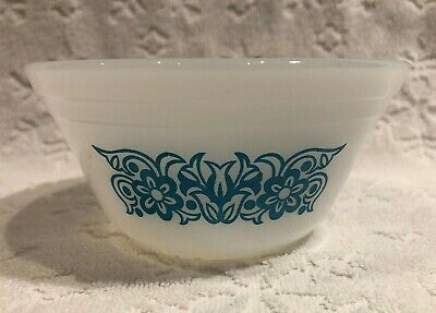 Vintage Federal Glass; 5-IN Blue-FLORAL Dual-Band NESTING Mixing-Bowl 2