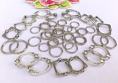 45 x Fab Silver Ornate Oval / Square Bead Frames (22) & Jump Rings 10/12mm* 4