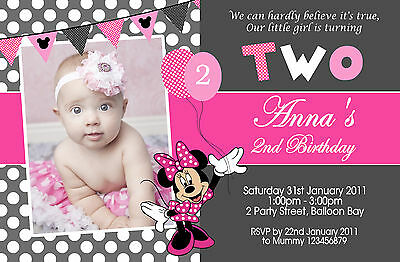 Personalised Minnie Mouse Birthday Invitations Pink Gold 1st 2nd Photo Invites 2