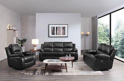 Peachy Valencia Sofa Set Suite Leather Recliner Sofas 3 2 1 Black Ibusinesslaw Wood Chair Design Ideas Ibusinesslaworg