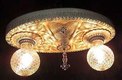 1 Vtg Art Deco Era Victorian Cast Ceramic Flush Mount Chandelier Ceiling Fixture 9