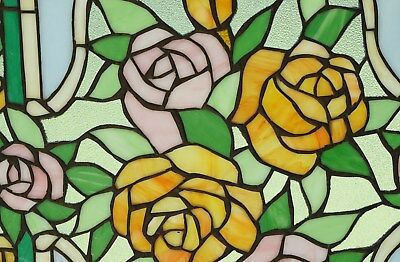 """Rose Flower Tiffany Style stained glass window panel,  20"""" x 34"""""""