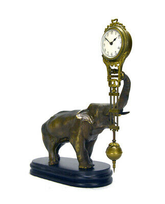 German Style Junghans Brass Elephant Figure 8 Day Swinging Swinger Clock 2
