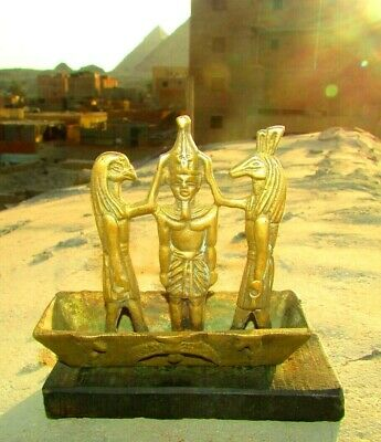 "ِAntique Pharaonic Boat Of King Ramses & The God ""Thoth"" Made Of Wood & Copper 8"