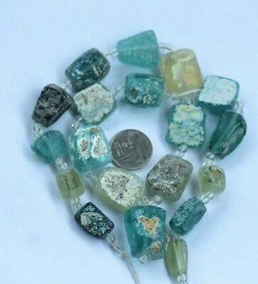 Ancient Old Roman Glass Beads Square  Mixed Size Color Random 3