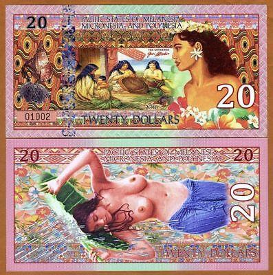 MELANESIA MICRONESIA & POLYNESIA $20 Dollars Nude x 1 FANTASY Polymer Banknote