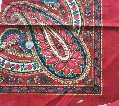 Antique French Block Printed Turkey Red Cotton Fabric c1860-70~Bandana~Paisley 2