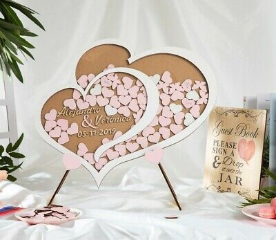 Personalised Wedding Party Guest Book Alternative Wooden Hearts Drop Jar Box 2