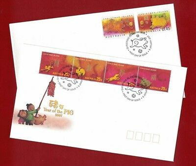 2007 Christmas Island Year of the Pig SG 600/14 FDC or fine used set 4 covers