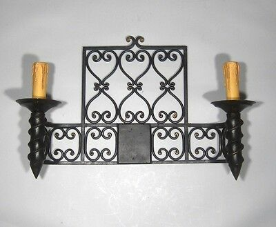 """Large Vintage French Wrought Iron Sconce, """"Chateau"""" Style, 19 x 13 inches 4 • CAD $443.32"""
