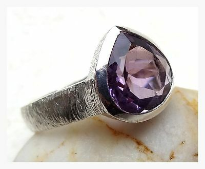 925 Sterling Silver PURPLE AMETHYST Semi Precious GEMSTONE RING SIZE N -US 7 1/2
