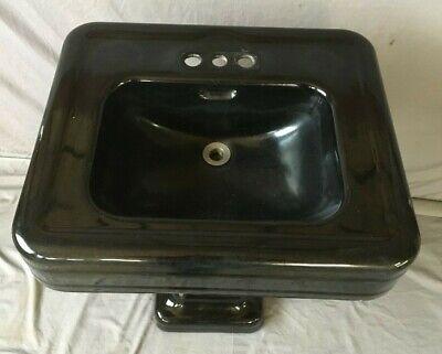 "Antique 24"" Cast Iron Black Porcelain Bath Pedestal Sink Old Vtg Crane 234-19E 2"