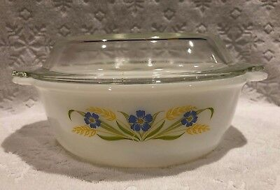 Vintage A-H Fire-King '64-66; RARE FORGET-ME-NOT Clear-Lidded 1 1-2 QT Casserole 4