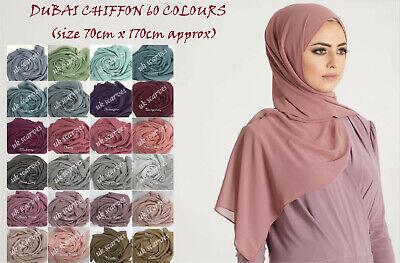 High Quality Plain Chiffon Hijab Scarf Shawl Wrap Soft Georgette  Dubai Elegant 2